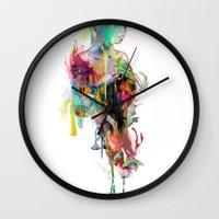 archan nair Wall Clocks featuring Far Away by Archan Nair