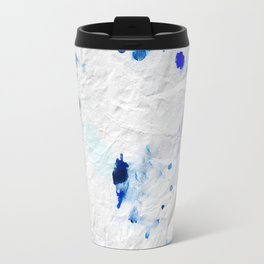 Accidental Blue and Black Ink Spot Abstract Art Travel Mug