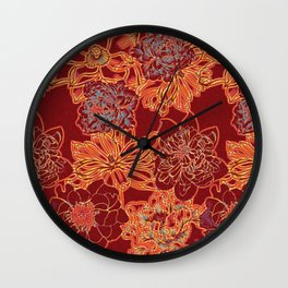 Oriental Red and Gold Wall Clock