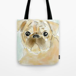 Pug face brown Tote Bag