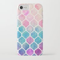 galaxy iPhone & iPod Cases featuring Rainbow Pastel Watercolor Moroccan Pattern by micklyn