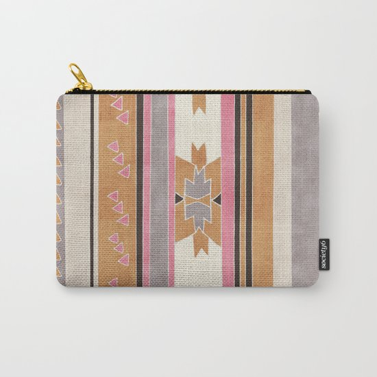 Rustic Tribal Pattern in Raw Sienna, Strawberry and Ash Carry-All Pouch