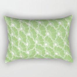 Hand-Drawn Summer Flowers: Green Rectangular Pillow