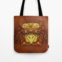 totem Tote Bags featuring Totem by SensualPatterns