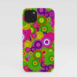 rainbow bright colorful trippy purple magenta fuschia pink neon lime green retro circles iPhone Case