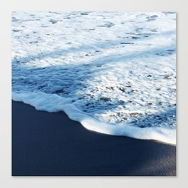 Ebony Black Sand Tropical Beach With Blue Shadows Canvas Print