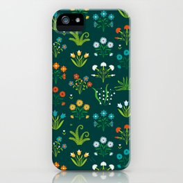 Floral green and red design iPhone Case