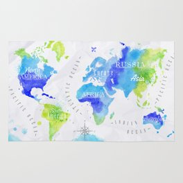 Watercolor world map green Rug