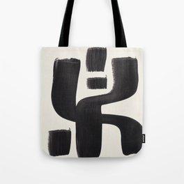 Mid Century Modern Minimalist Abstract Art Brush Strokes Black & White Ink Art Alien Symbol Pattern Tote Bag