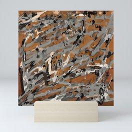 Gray, Black and Caramel Abstract Mini Art Print