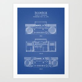 Boombox blue Art Print
