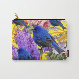 Golden-Yellow Spring Wildlife Blue Birds Floral Art Carry-All Pouch