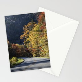 Bend in the roadway along the southern reaches of the Blue Ridge Parkway near Linville North Carolin Stationery Cards