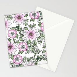 Blush pink green watercolor hand painted floral Stationery Cards
