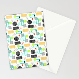 Modern Colorful Bright Stripes Pattern Stationery Cards