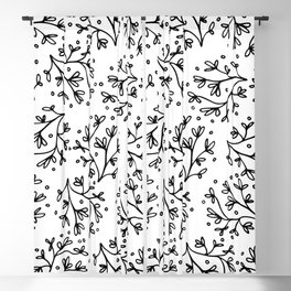 Modern hand drawn black white floral polka dots Blackout Curtain