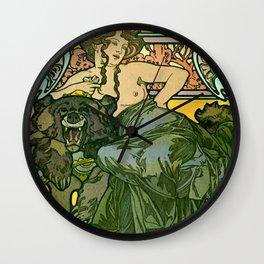 "Alphonse Mucha ""Documents Décoratifs, 1901 (47) - La Dame L'Ours"" Wall Clock"