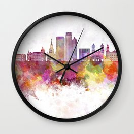 Medellin skyline in watercolor background Wall Clock