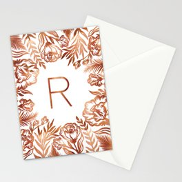 Letter R - Faux Rose Gold Glitter Flowers Stationery Cards
