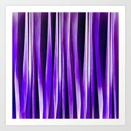 Royal Purple, Lilac and Silver Stripy Pattern Art Print