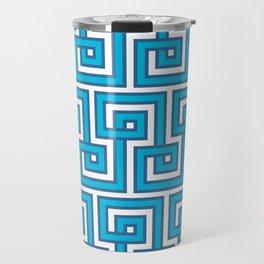 Greek Key - Turquoise Travel Mug