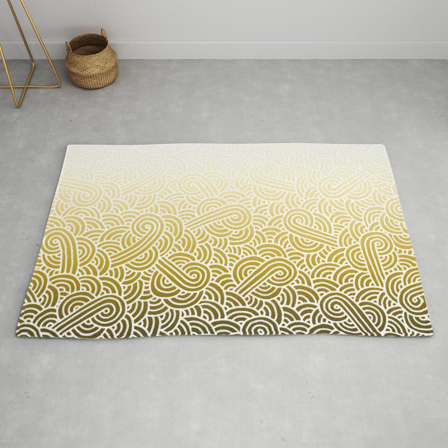 Faded yellow and white swirls doodles