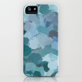 Turquoise Blue Green Mint Purple Abstract Geode Rock Wall Art Brush Painting Print iPhone Case