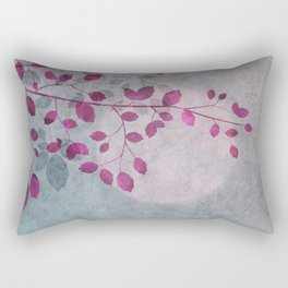 Pink Moon and leaf illustration Rectangular Pillow