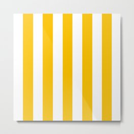 Golden poppy yellow - solid color - white vertical lines pattern Metal Print
