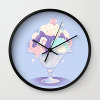 snorlax Wall Clocks featuring Sweet Tooth Sundae by Miski