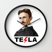tesla Wall Clocks featuring Tesla by Vi Sion