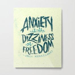 Kierkegaard on Anxiety Metal Print