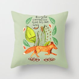 Every Fox...fox, sayings, typography, quote, nature, leaves Throw Pillow