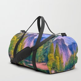 Mountain landscape with forest and river Duffle Bag