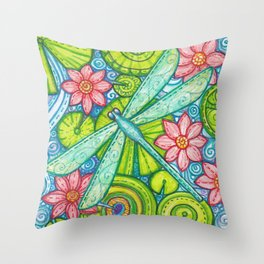Dragonfly By Throw Pillow