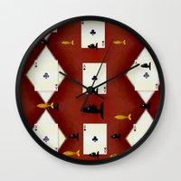 poker Wall Clocks featuring Poker Sharks by Pepita Selles