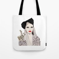 bow Tote Bags featuring Bow by Melania B