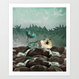 Behold the Mythical Merkitticorn - Mermaid Kitty Cat Unicorn Art Print