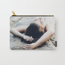 girl on rock. Carry-All Pouch
