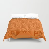 orange pattern Duvet Covers featuring Orange Pattern by White Wolf Wizard