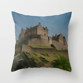 Edinburgh Castle Scotland Travel Poster Vintage Style Throw Pillow
