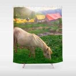 White Horse Grazing In Himachal Pradesh India Ultra HD Shower Curtain