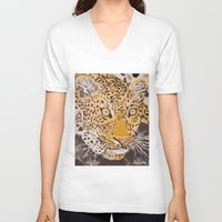leopard V-neck T-shirts featuring Leopard by stevesart