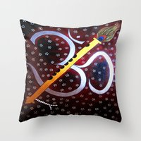 om Throw Pillows featuring Om by Priyanka Rastogi