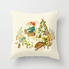 Critters: Summer Gardening Throw Pillow