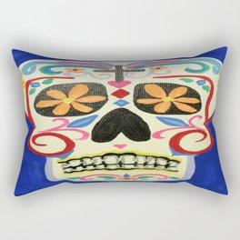 Blue Skull Rectangular Pillow