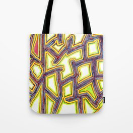 Outlined Fancy White Shapes Pattern Tote Bag