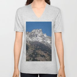 Mountain with Snow on Top Unisex V-Neck