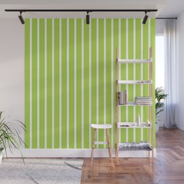 Green and White Vertical Stripes Pattern Wall Mural