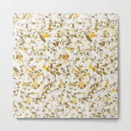 Yellow Gold Speckles Terrazzo Pattern Metal Print